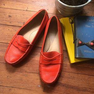 Ralph Lauren Camila Orange Leather Loafer